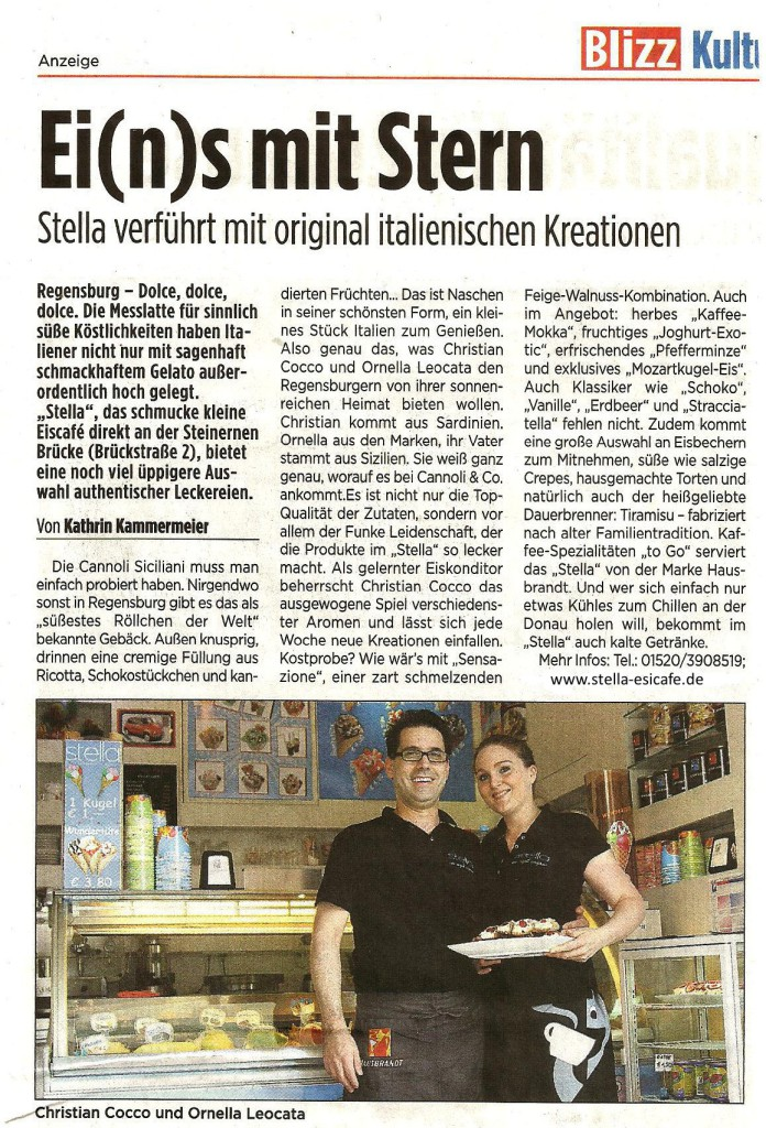 Eine schöner Artikel über der Eisdiele Stella Eiscafe an der Steinernen Brücke in Regensburg