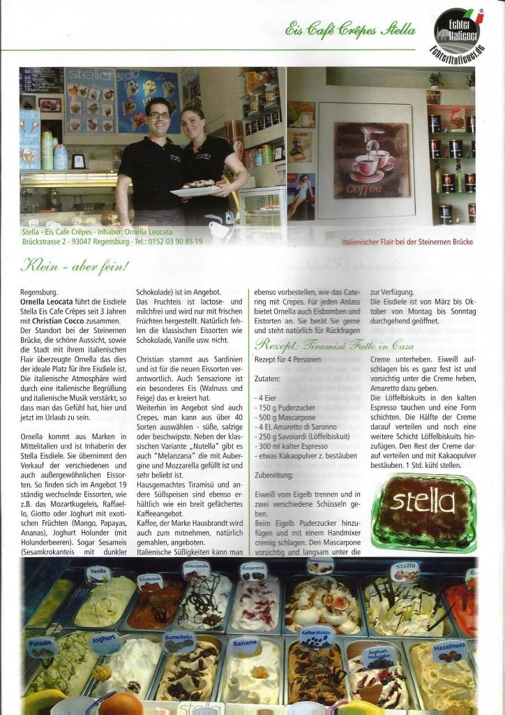 Artikel über Stella Eiscafe in Regensburg